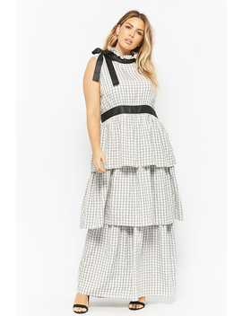 Plus Size Gingham Tie Neck Maxi Dress by Forever 21