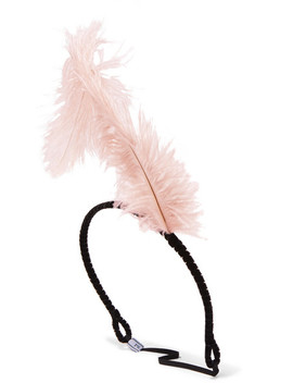 Feather Embellished Velvet Headband by Prada