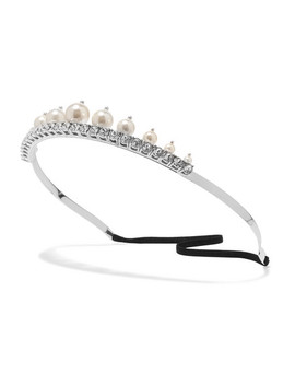 Silver Tone Faux Pearl And Crystal Headband by Miu Miu