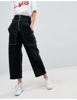 Asos – Schwarze Utility Jeans Mit Weitem Beinschnitt, Großen Taschen Und Ziernähten by Asos Collection