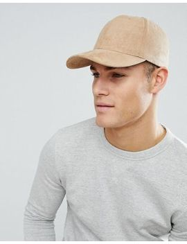 Asos Baseball Cap In Camel Faux Suede by Asos
