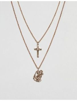 Asos Layered Necklaces In Gold With Cross & St. Christopher Pendants by Asos