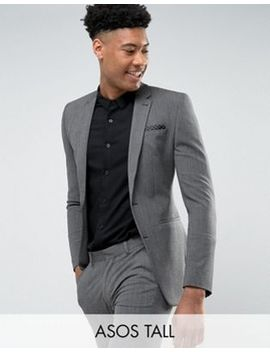 Asos Tall Super Skinny Suit Jacket In Salt & Pepper by Asos Tall