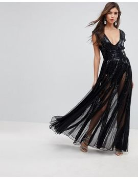 Asos Edition Sequin Mesh Fit And Flare Maxi Dress by Asos Edition