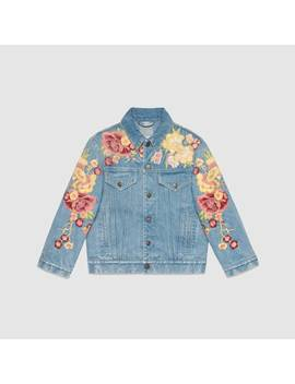 Embroidered Floral Denim Jacket by Gucci
