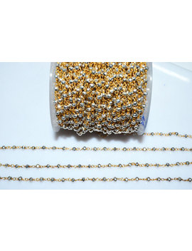 Beautiful Silver Pyrite Rosary Bead Chain Silver Pyrite Beaded Gold Wire Wrapped Chain By Foot , 3   3.50 Mm   Rb5492 by Etsy