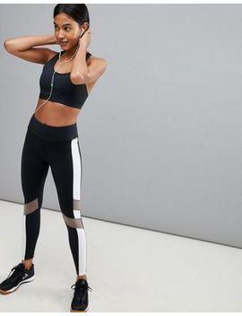 Reebok – Training – Leggings Mit Farbblockdesign In Schwarz by Reebok
