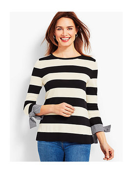 Striped Crewneck With Gingham Cuff And Bow by Talbots