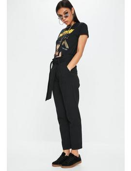 Black High Waist Tie Cargo Trousers by Missguided