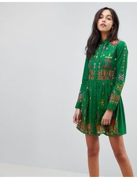 Asos Premium Aztec Mini Embroidered Skater Shirt Dress by Asos Collection