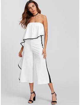 Contrast Trim Frill Strapless Jumpsuit by Sheinside