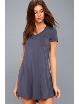 Better Together Washed Blue Shirt Dress by Lulus