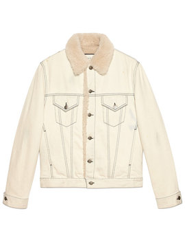 Shearling Lined Denim Jacket With Sketch Snake Print by Gucci