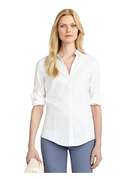 Petite Non Iron Fitted Blouse by Brooks Brothers