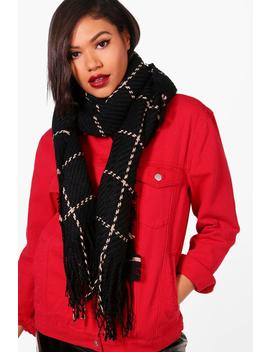 Amy Stitch Check Oversized Blanket Scarf by Boohoo