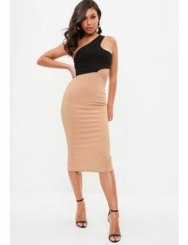Beige One Shoulder Contrast Midi Dress by Missguided
