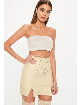 Cream Split Lace Up Front Faux Suede Mini Skirt by Missguided