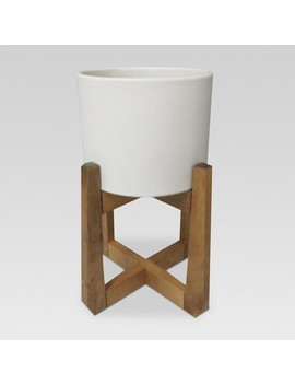 Wood & Stoneware Indoor Planter Small   White   Project 62™ by Project 62™