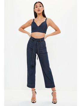 Blue Denim Contrast Stitch Cropped Jeans by Missguided