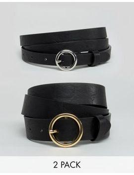 Asos Curve 2 Pack Circle Buckle Waist & Hip Belts by Asos Curve