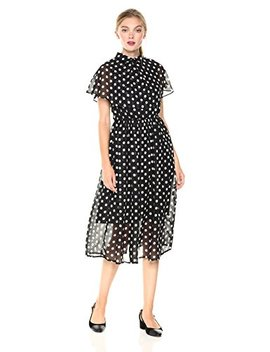Signature Society Women's Sleeveless Dress With White Dots On The Black Background by Signature Society