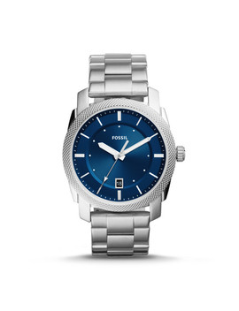 Machine Three Hand Date Stainless Steel Watch by Fossil