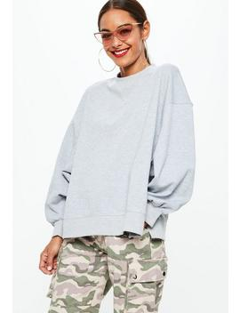 Gray Drop Shoulder Oversized Drop Hem Sweatshirt by Missguided