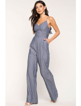 Joplin Stripe Chambray Jumpsuit by A'gaci