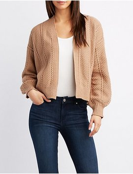 Cropped Open Front Cardigan by Charlotte Russe