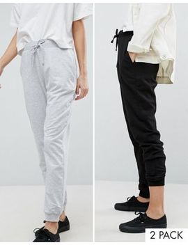Asos 2 Pack Basic Joggers With Tie In Black And Gray Save 12 Percents by Asos Collection