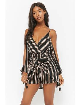 Selfie Leslie Striped Open Shoulder Romper by Forever 21