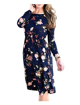 Wo Star Womens Summer Casual Floral Midi Dress by Wo Star