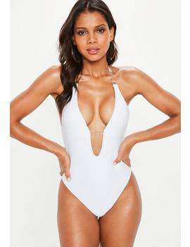 White Clear Strap Plunge Swimsuit by Missguided