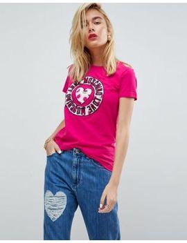 Love Moschino Glove Heart Logo T Shirt by Love Moschino