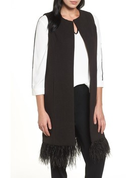 Faux Feather Trim Long Vest by Ming Wang