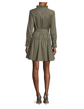 Ruffle Neck Long Sleeve Belted Poplin Dress by Neiman Marcus