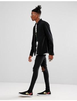 Asos Denim Overshirt With Zip Through In Black by Asos