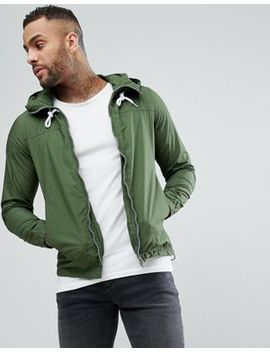 Pull&Bear Zip Through Hooded Jacket In Khaki by Pull&Bear