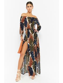 Print Leaf Off The Shoulder Maxi Dress by Forever 21