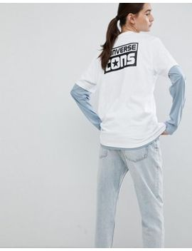 Converse Cons Skate Back Print Logo T Shirt In White by Converse