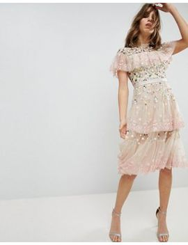 Needle & Thread Tiered Midi Dress With Embroidery And Lace Detail by Needle & Thread