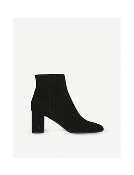 Loulou 70 Suede Ankle Boots by Saint Laurent