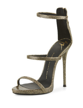 Coline Embossed Triple Strap 110mm Sandal, Black/Gold by Giuseppe Zanotti