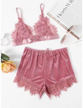 Applique Detail Lace Bralette & Velvet Shorts Set by Shein