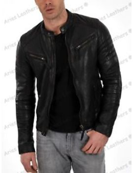 Mens Boda Black Quilted Real Lambskin Leather Jacket Motorcycle Biker Slim Ca102 by Aries Leathers