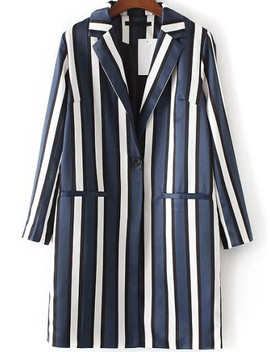 Blue Vertical Striped Single Button Long Blazer by Sheinside
