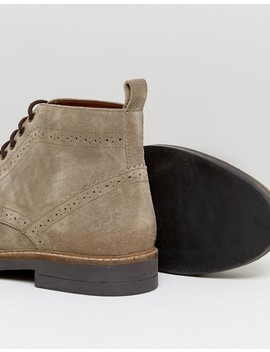 Frank Wright Brogue Boots Taupe Suede by Frank Wright