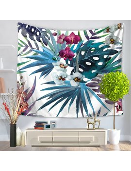 "Chez Max Modern Square Polyester Tapestry Multi Purpose Decorative Wall Hanging Mural Art Blue Leaf Pattern 79"" X 59"" by Chez Max"