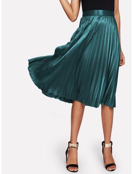 Zip Closure Pleated Satin Skirt by Shein