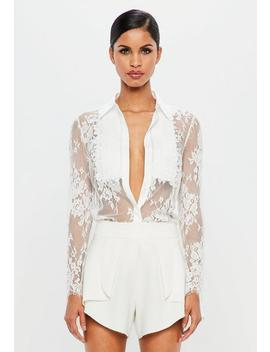 Peace + Love White Lace Trim Shirt by Missguided